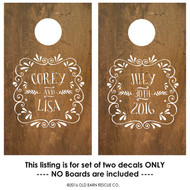 Personalized wedding cornhole decal fancy wreath