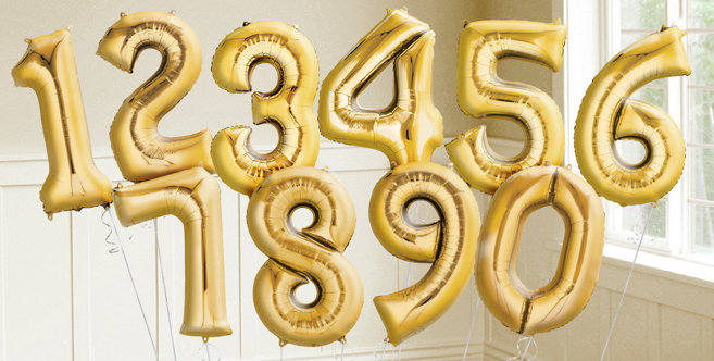 Big Gold Number Balloons 34 Helium