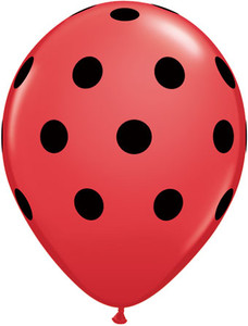 red balloons black polka dots