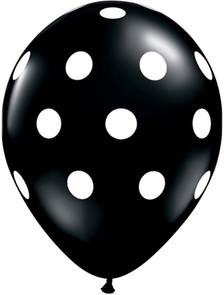 black balloon white polka dots