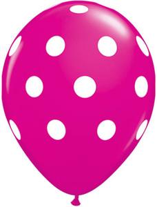 """11"""" Qualatex Wild Berry Big Polk Dots 50ct #37225"""