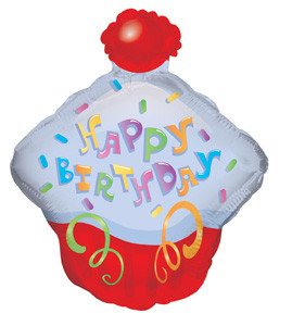 """14"""" Happy Birthday Day Cupcake Shape Air Fill Balloon (5 Pack)"""