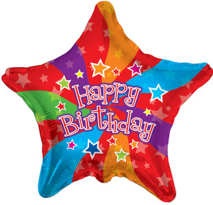 "19"" Birthday Colors Star Shape Balloons (5 PACK)#17755"
