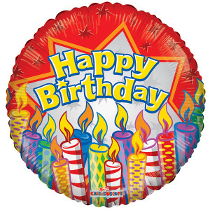 "18"" Birthday Candle Helium Foil Balloons  (5 Pack)  #19696"