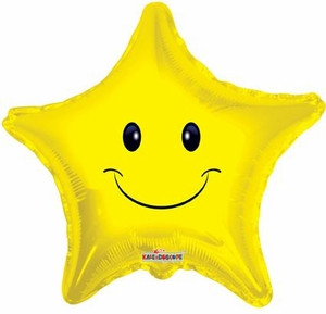 "19"" Smile Star Shape Helium Foil Balloon (5 PACK) #17447"