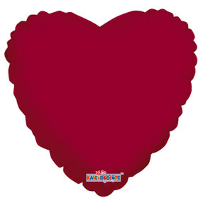 "18"" Metallic Burgundy Heart Balloon (5 PACK)#19313"