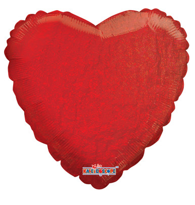 holographic red heart foil balloons