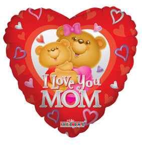 "18"" I Love You Mom Bear Balloon (5 PACK) #17565"