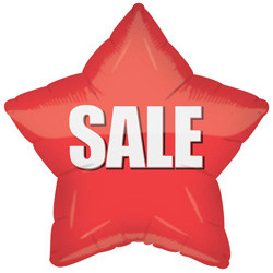 "18"" Red SALE Star Balloon (5 PACK) #13823"