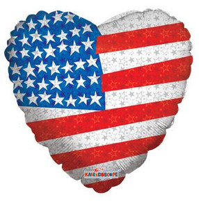 "18"" Patriotic Flag Heart Shape (5 PACK) #87006"