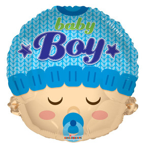 "18"" Baby Boy Head Shape Helium Foil Balloon  (5 PACK)#19609"
