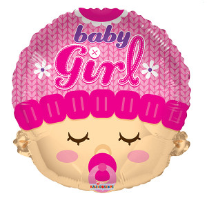 "18"" Baby Girl Head Shape Helium Foil Balloon 1ct #19610"
