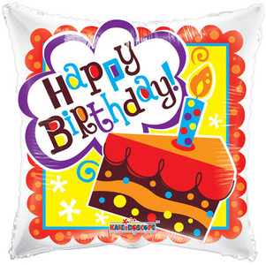 "18"" Birthday Cake Square 1ct #19366"