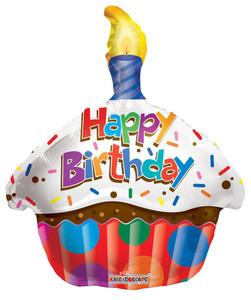 "18"" Birthday Cupcake Shape Helium Foil Balloon (5 Pack) #19471"