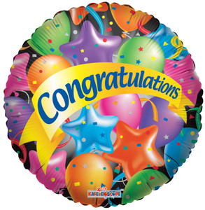 "18"" Congratuations Festive Balloons (5 PACK)#17382"