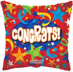 "18"" Congrats Square Shape Helium Foil Balloon (5 Pack)"