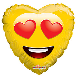 "18"" Emoji Smiley In Love Balloon (5 PACK) #19984"