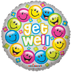"18"" Get Well Colorful Smiles Helium Foil Balloons (5 Pack)  #19289"