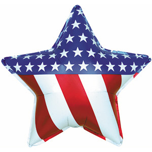 "18"" Patriotic Star Helium foil Balloon 1ct  #814025"