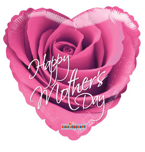 "18"" Happy Mother's Day Heart Shape Helium Foil Balloon Printed 1-side  Pink Rose 1ct #20250"