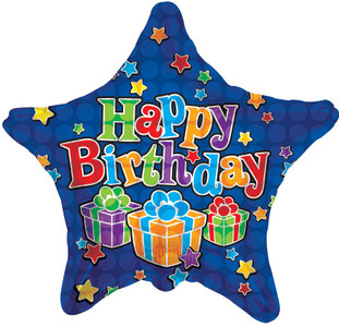"18"" Blue Birthday Stars Balloons (5 Pack) #17785"