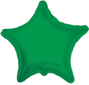 "19"" Green Star Foil Helium Balloon 5 Pack # 17857"