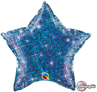 "20"" Qualatex Holographic Blue Star Helium Foil Balloon 1ct #41282"