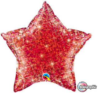 "20"" Qualatex Holographic Red Star Helium Foil Balloon 1ct"