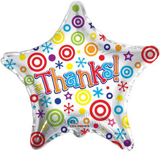 "19"" Thanks Star Helium Foil Balloons (5 Pack) #19299"