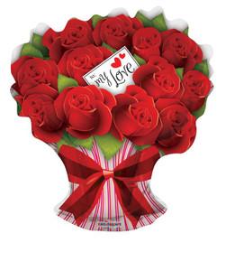 "28"" Roses Bouquet Shape Balloon 1ct"