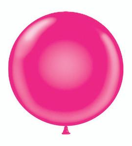 "24"" Tuf Tex Jewel Magenta Transparent Round Latex Balloon 1ct #24163"