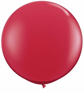 "24"" Jewel Red Transparent Round Latex Balloons 1ct #24193"