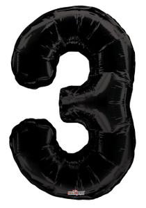 """34"""" Large Black # 3 Balloon #19685"""