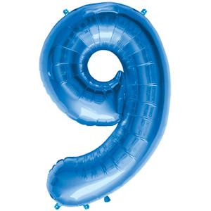 "34"" Large Blue # 9 Balloon"
