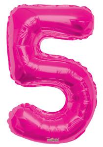 """34"""" Large Magenta # 5 Balloon 1ct #19677"""