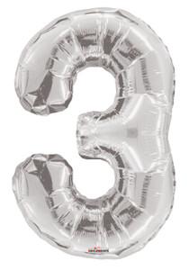 silver number 3 balloons silver number balloons