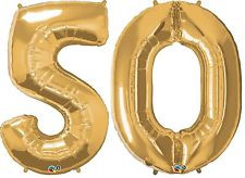 "34"" Large #50 Gold Number Foil Balloons"
