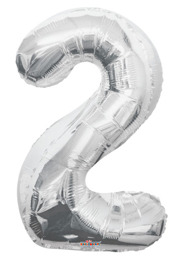 silver number 2 balloon