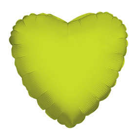"4"" Lime Heart Foil Balloon Air Fill Only  (5 PACK) #34103-04"