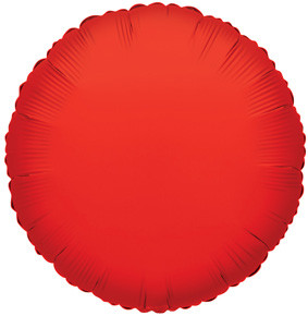 "4"" Red Circle Foil Balloon Air Fill Only (5 Pack) #34071"