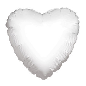 "4"" White Heart Foil Balloon Air Fill Only (5 PACK) #34102-04"