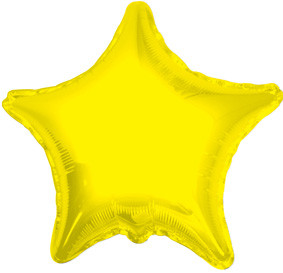 "4"" Yellow Star Foil Air Fill Only Balloon (5 PACK)#34018-04"