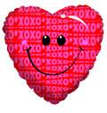 "18"" Smile Emoji Red Heart Helium Foil Balloon (5 PACK) #20087"