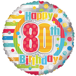 "18"" 80th Birthday Helium Foil Balloons (5 Pack) #19881"