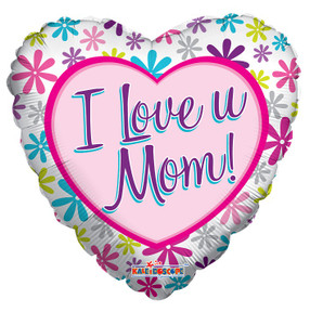 "18"" I Love U Mom Heart Shape Helium Foil Balloon 5 Pack #84175"