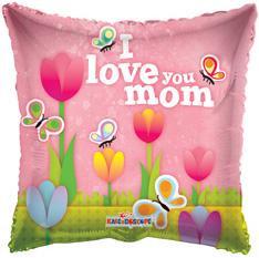 "18"" I love Mom Tulips Balloons Helium Foil Balloons #84138"