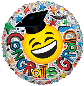 9″  Congrats Grad Smiley Holographic  Air Fill Only (5 Pack)  85313-09