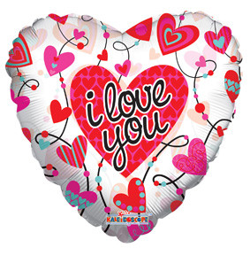 """9"""" I Love You Hearts Air Fill Only Foil Stick Balloons  (5 Pack)"""