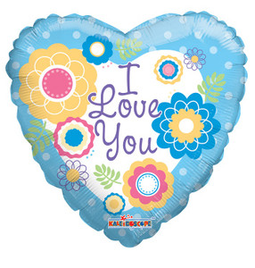 """9"""" I Love You Flowers  Mini Foil Balloon Air Fill Only (5 PACK)"""