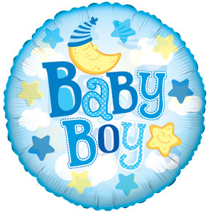 "9"" Mini Baby Boy Clouds Clear View 1ct"